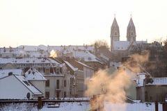 Stary miasteczko Wiesbaden przy zima czasem zdjęcie stock