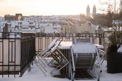 Stary miasteczko Wiesbaden przy zima czasem obrazy stock