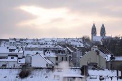 Stary miasteczko Wiesbaden przy zima czasem fotografia royalty free