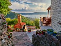 Stary miasto Gornja Lastva blisko Tivat, Montenegro zdjęcia royalty free