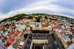 Stary miasto Lviv od wzrosta Historyczny centrum miasta jest na UNESCO światowego dziedzictwa liście Obrazy Stock