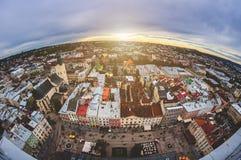Stary miasto Lviv od wzrosta Historyczny centrum miasta jest na UNESCO światowego dziedzictwa liście Obrazy Royalty Free