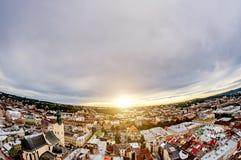 Stary miasto Lviv od wzrosta Historyczny centrum miasta jest na UNESCO światowego dziedzictwa liście Obraz Stock