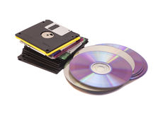 Stary mody Floppys dysk i płyty kompaktowa obraz royalty free