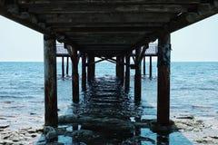 Stary molo prowadzi morze kaspijskie od pustyni fotografia royalty free