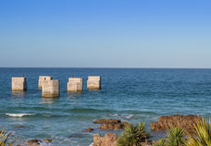 Stary molo przy Humewood plażą Port Elizabeth Południowa Afryka Zdjęcie Stock