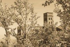 Stary monaster dzwonił Sant Pere De Rodes, Catalonia, Hiszpania obrazy royalty free