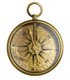 Stary mosiądz lub antyka brązowy kompas odizolowywający Zdjęcia Royalty Free