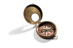 Stary mosiężny rocznika kompas dla nawigaci Zdjęcia Stock