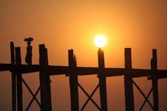 Stary most w Myanmar Zdjęcie Royalty Free