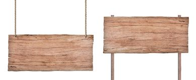 Stary natury drewna znak odizolowywający na białym tle zdjęcia stock