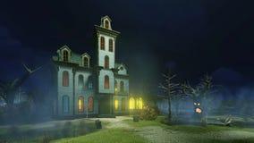 Stary nawiedzający dwór przy mglistą nocą i royalty ilustracja