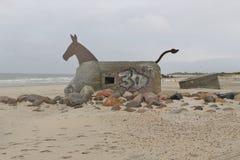 Stary Niemiecki bunkier na plaży Blavand, Dani Fotografia Royalty Free