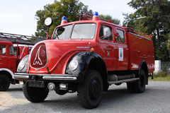Stary niemiecki jednostka straży pożarnej samochód Obrazy Stock