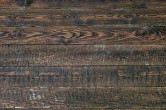 Stary nieociosany drewno stół ciemny tekstury drewna Odgórny widok Obraz Royalty Free