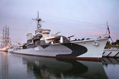 Stary niszczyciel w Gdynia Polska Zdjęcia Royalty Free