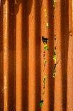 Stary ośniedziały cynku prześcieradła ogrodzenie jest grunge tłem Zdjęcia Stock