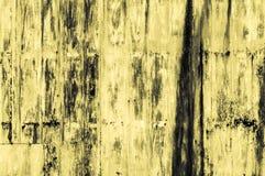 Stary ośniedziały koloru żółtego żelaza ściany tło Zdjęcie Stock