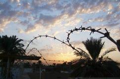 Stary ośniedziały ochrona drutu kolczastego ogrodzenie na niebieskim niebie zdjęcie stock