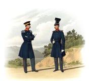 Stary obrazek żołnierze Rosyjski imperium i oficery ilustracja wektor