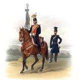 Stary obrazek żołnierze Rosyjski imperium i oficery ilustracji