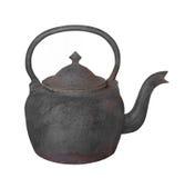 Stary obsady żelaza teapot odizolowywający Fotografia Stock