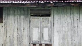 Stary okno, drewniany tło, stara ściana Fotografia Royalty Free