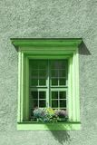 Stary okno i kwiaty przy starym budynkiem Obraz Stock