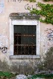 Stary okno z ośniedziałymi barami i rośliną Fotografia Royalty Free