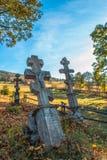 Stary ortodoksyjny cmentarz w Niskim Beskids Obraz Royalty Free
