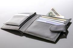 Stary otwarty portfel z pieniądze i kredytowymi kartami Obraz Stock