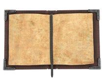 Stary otwiera książkę na odosobnionym białym tle ilustracja 3 d Obraz Stock
