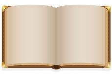 Stary otwiera książkę z pustymi prześcieradłami royalty ilustracja