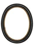Stary owalny obrazek ramy drewniany odosobniony biały tło Zdjęcia Stock