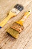 Stary paintbrush na drewnianym tle, rocznik Zdjęcia Royalty Free