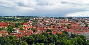 stary panoramy lato czas miasteczko Vilnius Fotografia Stock