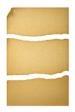 stary papier składa trzy poszarpanego Obrazy Stock