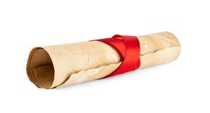 Stary papier z czerwonym faborkiem Zdjęcie Royalty Free
