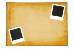 Stary papier z pustą fotografii ramą Fotografia Stock