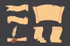 Stary Papierowy ślimacznica wektoru set Retro dokumentu pismo z copyspace Rocznik puste i listowe ilustracje ilustracja wektor
