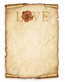Stary papieru prześcieradło, rocznik starzejący się stary papier z różą i miłość, Fotografia Stock