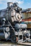 Stary parowego silnika żelaza pociągu szczegółu zakończenie up Obrazy Royalty Free