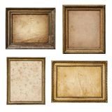 Stary pergaminowy papier w rocznika drewna ramy kolekci nieociosanym isol Obrazy Royalty Free