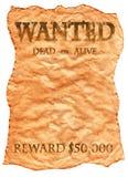 stary plakat chcieć zachodni dzikiego Zdjęcia Stock