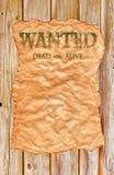 stary plakat chcieć zachodni dzikiego obrazy stock
