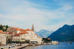 Stary połowu miasteczko Perast na brzeg Kotor zatoka Zdjęcie Stock