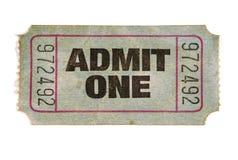 Stary pobrudzony drzejący przyznaje jeden bilet, biały tło zdjęcie royalty free