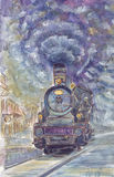 Stary pociąg w nakreślenie stylu Zdjęcia Stock
