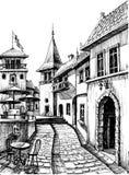 Stary pokojowy miasto rysunek ilustracja wektor