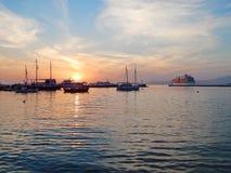 Stary port na Mykonos wyspie w Grecja Zdjęcie Royalty Free